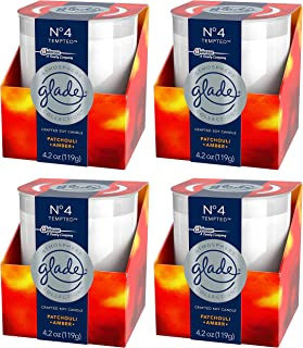 Glade Scented Candle - Atmosphere Collection - No 4 Tempted - Patchouli & Amber - Net Wt. 4.2 OZ (119 g) Per Candle - Pack of 4 Candles