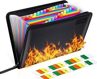 25 Pockets Fireproof File Folder Organizer A4/Letter Size Water Resistant Document Bag Money Briefcase Filing Folder with ...