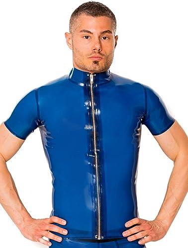 Skin Two Clothing Latex bleu Collarouge Zip T-Shirt
