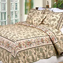 Cozy Line Home Fashions Florence French Country Quilt Bedding Set, Cream Beige Floral Printed Pure Cotton Reversible All Season Coverlet Bedspread for Her/Women (Florence, Queen - 3 Piece)