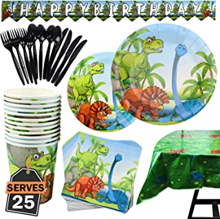 177 Piece Dinosaur Party Supplies Set Including Plates, Cups, Napkins, Spoons, Forks, Knives, Tablecloth and Banner, Serves 25