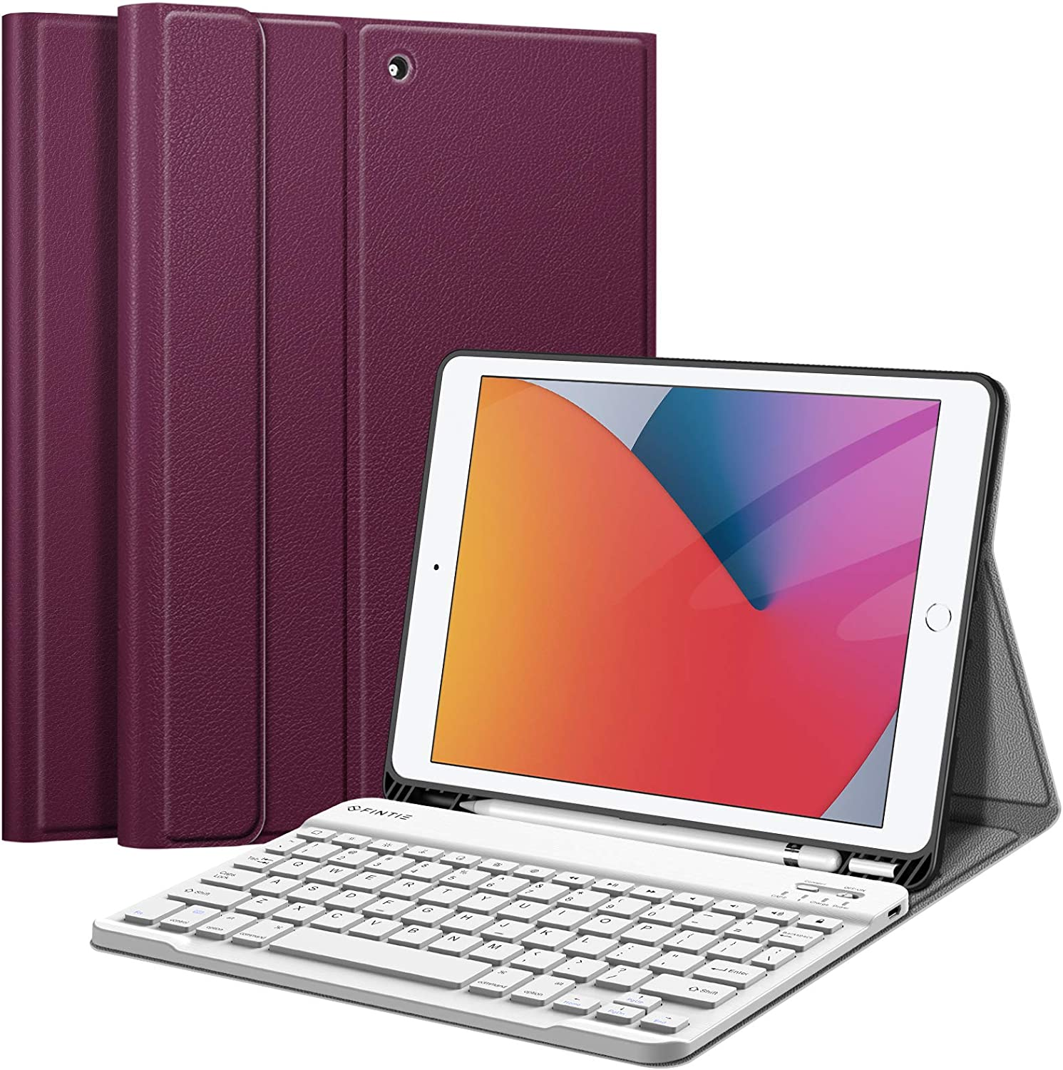 Fintie Keyboard Case for iPad 9th / 8th / 7th Generation (2021/2020/2019) 10.2 Inch, Soft TPU Back Stand Cover with Pencil Holder, Magnetically Detachable Wireless Bluetooth Keyboard, Purple