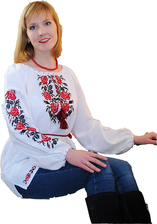 Handmade Ukrainian pink Embroidered Folk Blouse Cotton Traditional Ethnic Style