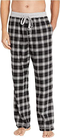 Crossroads Plaid Flannel Pajama Pants with Heather Knit Trim