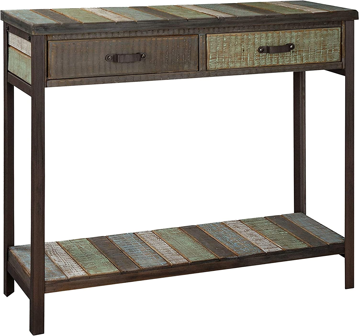 RANDEFURN Rustic Solid Wood Sofa Table,Console Table with 2 Drawers and Shelf, 35x12x31.5 inches, Entryway Table with Storage, Metal Legs, Coffee Table Antique Country Style, Living Room,Hallway,Blue