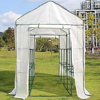 ビニールハウス 温室 パティオ&ガーデンの白いウォークイン温室、屋内屋外ガーデニングホットハウス 花植物野菜のために、鉄骨 (Size : Large)