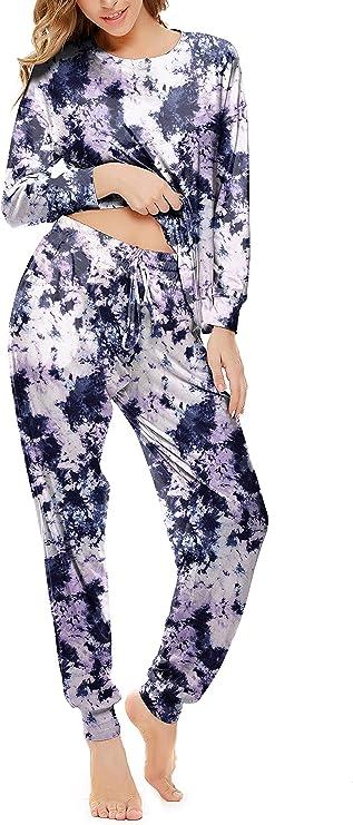 Welsters Women Tie Dye Pajama Sets Lounge Sets Long Sleeve Sweatsuits 2 Piece Outfits Loungewear Set Sleepwear Pj Set