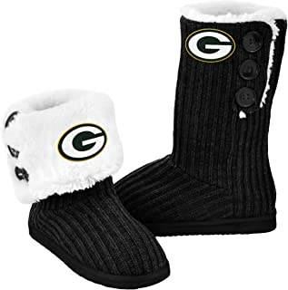 Forever Collectibles NFL Football Ladies Knit High End Button Boot Slippers - Black