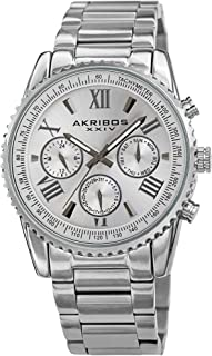 Akribos XXIV Multifunction Everyday Men's Watch - 3 Subdials, Month Date, Week Date and 24 Hr Functions Complication On Stainless Steel Bracelet - AK1099