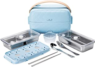Yum Asia Bonsai Bento elektrische rijstkoker en stoomboot (0.2L, 1 kopje), 220-240V UK/EU Power (Sky Blue)