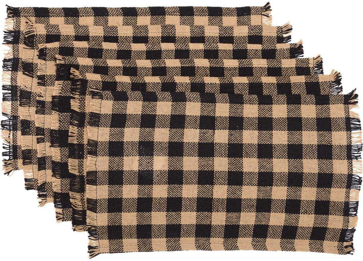 VHC Brands Burlap Black Check Placemat Set Seattle Mall 6 of Fringed Co 12x18 Discount is also underway