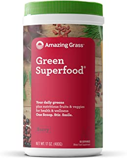 Amazing Grass Green Superfood: Super Greens Powder with Spirulina, Chlorella, Digestive Enzymes & Probiotics, Berry, 60 Se...