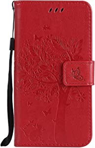 Galaxy 2017 Case  SUMIXON Wallet Book  Stand View  Card Case Cover Magnetic Closure Full Protection Premium Leather Folio Case for Galaxy 2017-Red