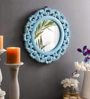 The Urban Store Wood Hand Crafted Round Shape Vanity Wall Mirror Glass for Living Room, 35X 35 X 1.5 cm Blue