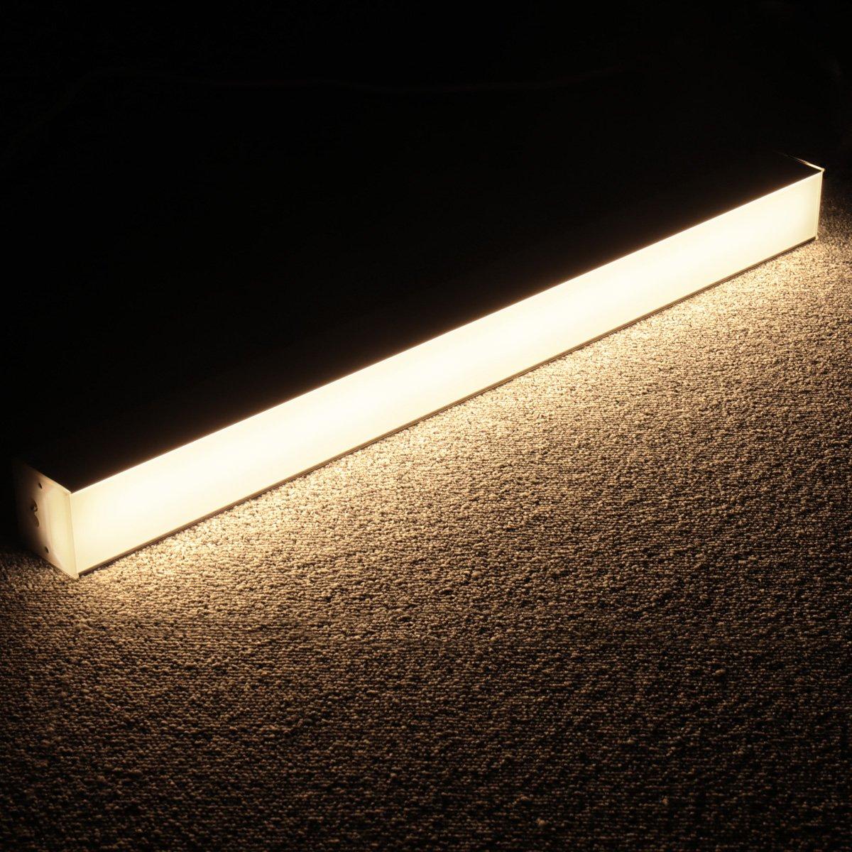 Lagute LEDGo DIYリニアモジュールLEDライトと電源コード、1.8 mのオフィス、ガレージ、ワークショップ、サスペンションと壁掛け昼光用の自由に組み立て可能なDIY照明3500K  - 暖かい白2FT 20W