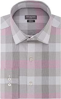 Men's Dress Shirts Flex Collar Slim Fit Stretch Check