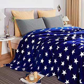 "JYK Flannel Fleece King Blanket, 90""x104"", Super Soft Plush Microfiber Fuzzy Blanket, Lightweight Fluffy King Blanket for Bed(King, Navy Star)"
