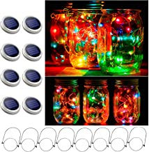 8 Pack Mason Jar Lights, 30 LED Solar Fairy String Lights Lids with 8 Hangers(Jars Not Included), Best for Mason Jar Decor...