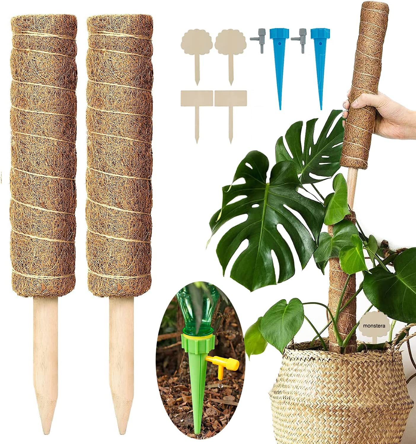 Moss Pole for Max 71% OFF Plants Monstera 2 security Pcs Totem Poles 19.6