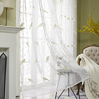 VOGOL Rod Pocket Sheer Curtains Elegant Embroidered Bird Design White Window..