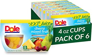 Dole Fruit Bowls, Cherry Mixed Fruit in 100% Fruit Juice, 4 Count, 4 Ounce Cups (Pack of 6) - 24 Total Cups