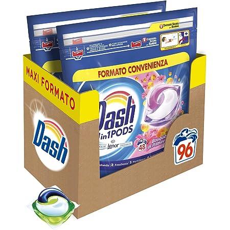 Dash All in 1 Pods Detersivo Lavatrice in Capsule, 96 Lavaggi (2 x 48), Primavera, Maxi Formato, Rimuove le Macchie, Brillantezza Per Tutti i Capi