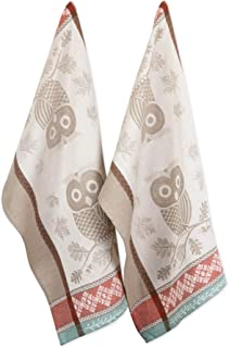 DII CAMZ11228 Cotton Jacquard Thanksgiving Holiday Dish, Decorative Oversized Embroidered Towels, Perfect Home and Kitchen Gift, Set of 2, Oak & Owl