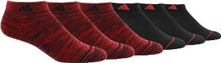 adidas, Calcetines de corte bajo Superlite para niños y niñas (6 pares), color negro, color escarlata, negro y escarlata, grande, (tamaño de zapato 3Y-9)