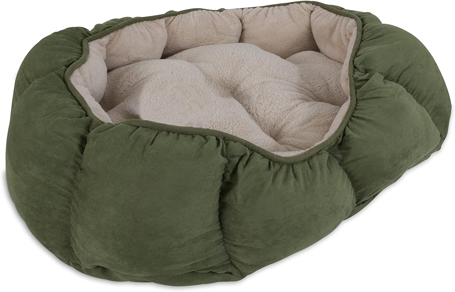 Aspen Pet Overstuffed Oval Bed, 34 x 27, Assorted Navy bluee Burgundy Dark Brown Green