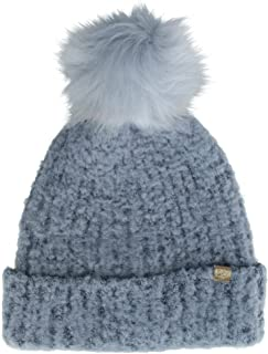 David & Young Women's Boucle Beanie Cuff Cap with Pom
