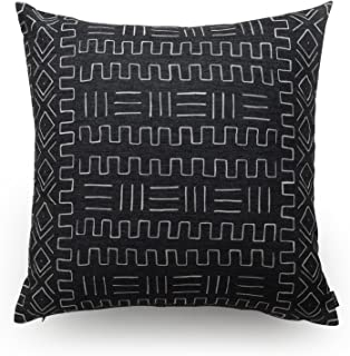 Hofdeco Decorative Throw Pillow Cover HEAVY WEIGHT Cotton Linen African Mud Cloth Ethnic Black Tribal Pattern 18