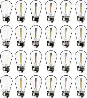 24 Pack LED S14 Replacement Light Bulbs, FLSNT Shatterproof Waterproof 1W Outdoor String Light Bulbs,E26 Regular Base,2200...