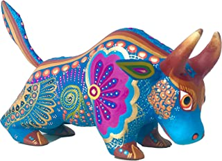 Mexican Alebrije Bull Wood Carving Handcrafted Sculpture (Blue)