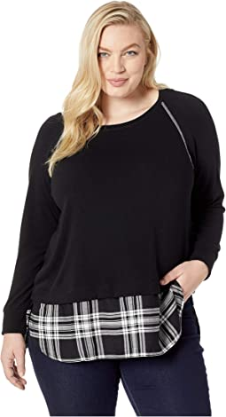 Plus Size Plaid Hem Sweater