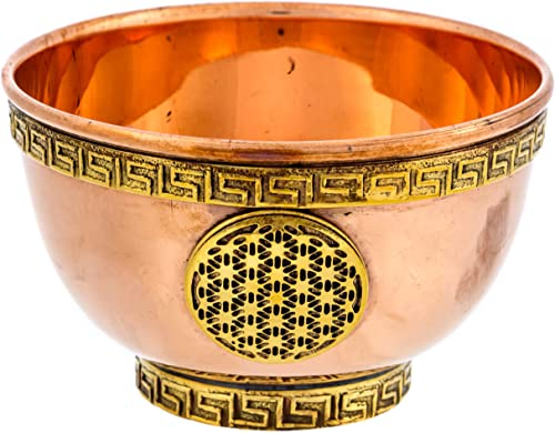 new arrival Alternative Imagination Flower of Life Copper popular Offering Bowl for Altar Use, Rituals, Incense, Smudging, Decoration, popular and More outlet sale