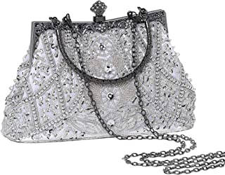 BABEYOND 1920s Flapper Clutch Gatsby Pearl Handbag Roaring 20s Evening Clutch Beaded Bag 1920s Gatsby Costume Accessories