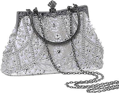 Coucoland Perlen Clutch Damen 1920s Handtasche Abend Party Geldbeutel Elegante Abschlussball Handtaschen Hochzeit Braut Zubehör