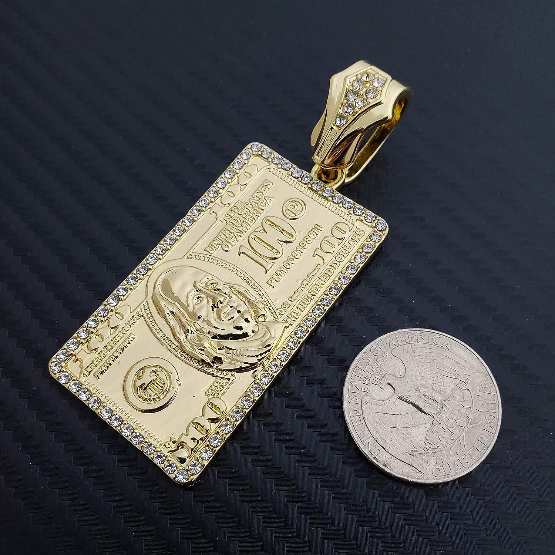 Hip Hop Gold Plated $100 Dollar Bill Benjamin Pendant & 12mm 16