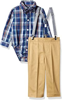IZOD Boys' Baby 4-Piece Creeper, Bow Tie, Suspenders, and Pants Set