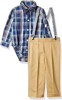 IZOD Boys' Baby 4-Piece Creeper, Bow Tie, Suspenders, and Pants Set