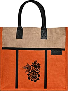 PROMISE Eco-Friendly Jute Bag, Flower Print Tiffin/Shopping/Grocery Hand Bag With Handle for Men and Women With 1 Inside p...