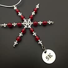 5K Ornament - Beaded Snowflake 5K Christmas Ornament/Gift Tag with Round Pewter 5K Charm with Jewelry Box - Handmade with Red Vintage Beads