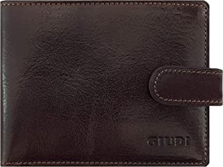 Giudi Splendid Slimfold Men's Wallet Made in Italy - Beautiful Smooth Genuine Leather - 2 Cash Pockets - 8 Card Holder - Button Snap Closure - Superb Present for Male