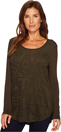 Tribal Long Sleeve Scoop Neck Top w/ Cut Out