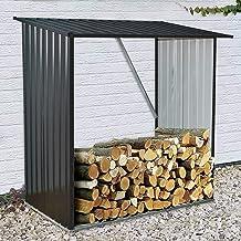 Hanover HANWDSHD-Gry Holds up to 55 CU. FT. of Stacked Indoor/Outdoor Galvanized Steel Firewood Storage Rack, Dark Gray