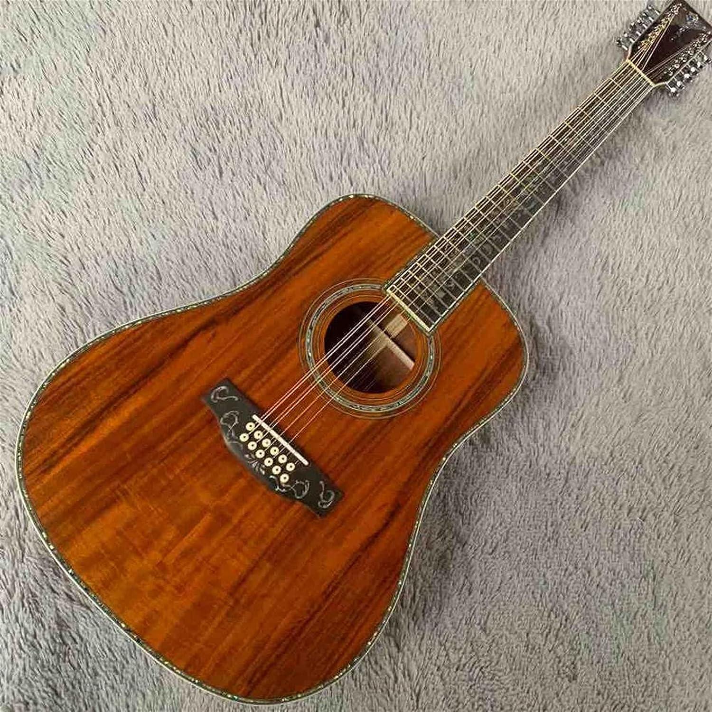 YYYSHOPP Guitarra 12 Cuerdas Sólidas Madera Superior Incrustación Encuadernación 4 5DK Guitarra Eléctrica Acústica (Size : 41 Inches)