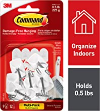 Command 3M Small Kitchen Hooks, White, Decorate Damage Free, Easy On, Easy Off, 9 Hooks, 12 Strips, Multi-Pack - 17067-VP