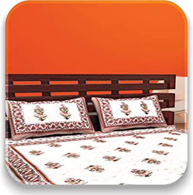 Aayesha Cotton 144 TC 100% Cotton Double Bed bedsheet with 2 Pillow Covers - Grey