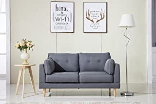 Divano Roma Furniture Mid Century Modern Ultra Plush Linen Fabric Sofa, Color Dark Grey and Light Grey (Dark Grey)