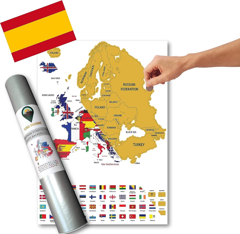 Global Walkabout ESPAÑOL - Mapa de scratch de países europeos con fondo de banderas - Regalo De Viaje (White)